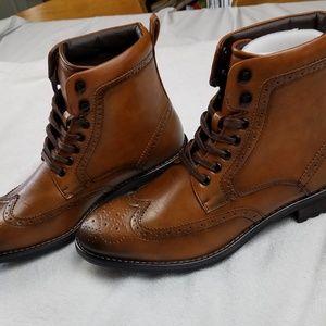 NWOT Vincent Cavallo Combat Dress Boots Cognac